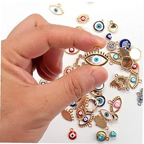Ruluti 30 Piezas Mixtas Esmalte Ojo Adornos, Conector Varios Mal De Ojo Colgantes, Imitación De Diamante del Ojo Malvado De Los Colgantes De Cadena, Adecuados para Joyería De Bricolaje Collar Craft