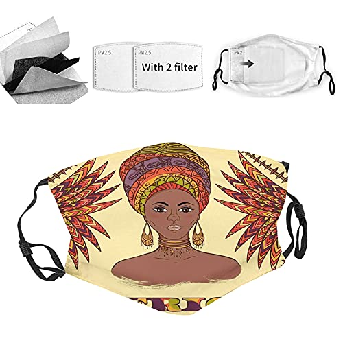 African Breathable Face Mask,Ethnic Woman In Traditional Turban And Palms Cultural Folk Graphic Art, Reusable Face Mask for Men & Women,Multicolor
