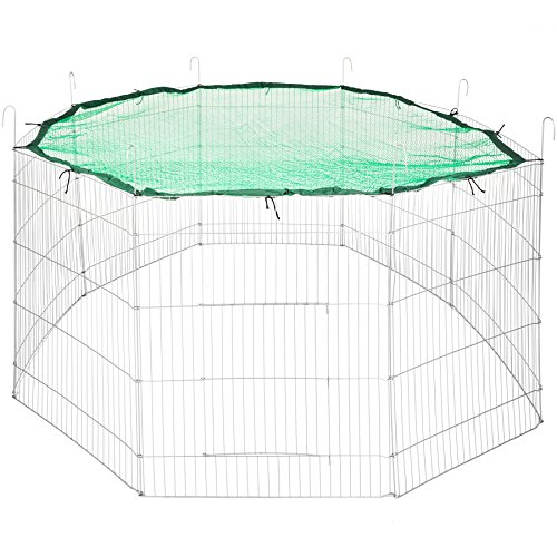 TecTake Freilaufgehege mit Schutznetz für Nager und Kleintiere | aus 8 Gitterelementen Ø 204 cm | grün