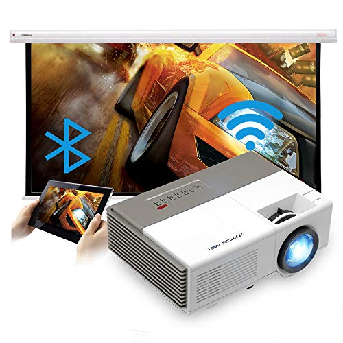 Mini Projector Wifi Keystone/Zoom/Speaker/Wireless Airplay Supported Bluetooth Portable Movie Home/Outside/Game Projector with TV/Fire Stick/Phones/PC/Tablet/PS4/HDMI/USB/Audio for Big Screen Theater