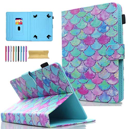 Universal 8.0' Tablet Case, AMOTIE Wallet Stand Cover w/Credit Card Slots for iPad Mini 1 2 3 4 5/ Galaxy Tab E 8.0/ Tab A 8.0/ Fire HD 8/ Lenovo/RCA and More 7.0-8.5 inch Tablet, Beach