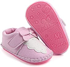 PanGa Baby Boys Girls Non-Slip Hard Bottom Rubber Sole Slippers Pu Leather Cartoon Sneakers Toddler Infant First Walkers Crib Shoes (6-12 Months M US Infant, A-Pink-Bow)