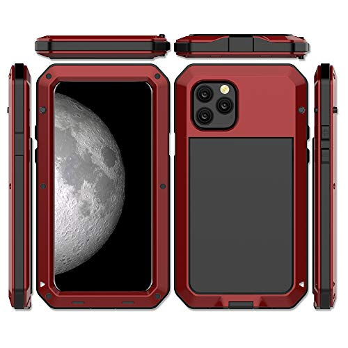 CarterLily iPhone 11 Pro Max Case, Full Body Shockproof Dustproof Waterproof Aluminum Alloy Metal Gorilla Glass Cover Case for Apple iPhone 11 Pro Max 6.5 inch (Red)