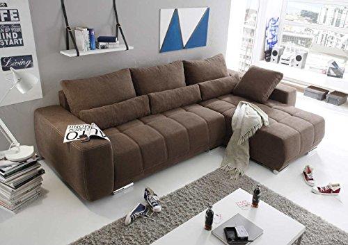 lifestyle4living Ecksofa mit Microvelourbezug in braun, Schlaffunktion und Bettkasten, Polsteraufbau aus Schaumstoff und Nosagfederung, Maße: B/H/T ca. 305/90/189 cm