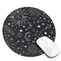 団子dadabuliu マウスパッド 円型 天体 インディアン風 星柄 太陽 魔法陣 矢柄 星座 ゲーミングマウスパッド ゴム底 光学マウス対応 滑り止め 耐久性が良い おしゃれ かわいい 防水 オフィス最適 適度な表面摩擦 直径:20cm
