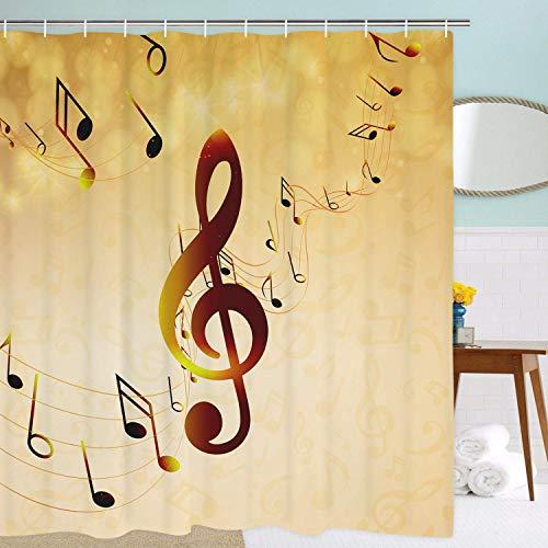 Cortina de baño amarilla decorada con notas musicales