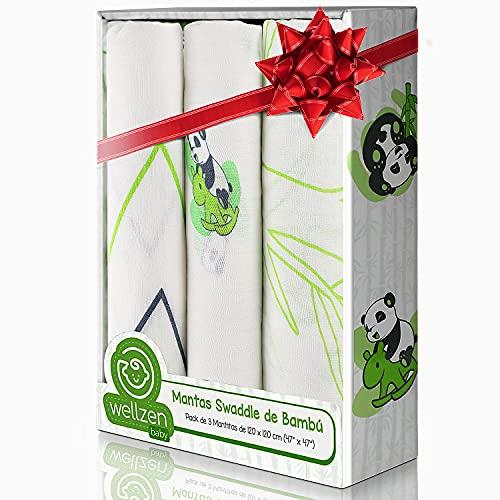 Manta bebé Muselina 100 % bambú 120x120 . Regalo Recién Nacido . Pack de 3 Unidades