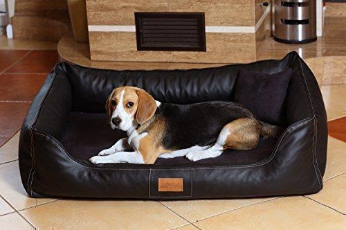 tierlando® Maddox VIP Orthopädisches Hundebett VISCO Velours Kunstleder S - XXL Größe: MO5-AL 120cm | Farbe: 03 Schwarz