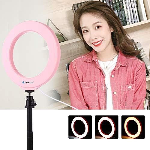 PULUZ - Anillo de Luces LED para Selfie (10,2 Pulgadas, con trípode para Zapata fría, rótula y Abrazadera para teléfono para Maquillaje y Equipos de grabación de vídeo Youtube