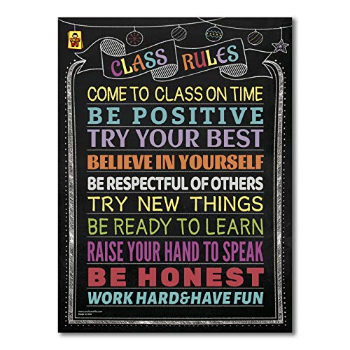 School Classroom Decorations -Banner Posters for Teachers Supplies Decor for Middle School Elementary School & High School (Double Side Laminated 18X24)