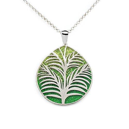 Collar Plata colgante Hoja fondo diamantado verde