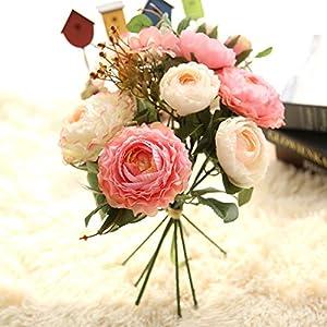 Silk Flower Arrangements ORCATRA Artificial Fake Flower Bouquet, Peony Centerpiece, Faux Silk Flower Arrangements, Home/Wedding/Party Floral Decor (Pink)