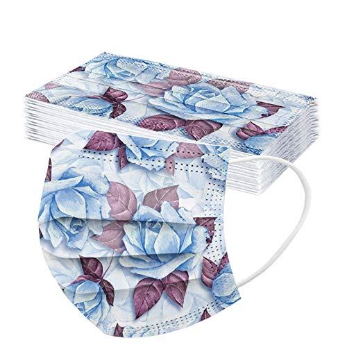JUFANaizenem Blume Einwegmasken Bunt Bedruckt Mundschutz 3-lagig Gesicht Bandana Kopftuch Staubschutz Atmungsaktiv,Einmal Multifunktionstuch Halstuch