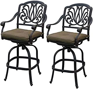 Outdoor Patio Swivel Bar Stools Cast Aluminum Elisabeth Outdoor 2pc Set