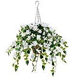 Artificial Flowers Hanging Basket with Bougainvillea Silk Vine Flowers for Outdoor/Indoor, Artificial Hanging Plant in Basket, Ivy Basket Artificial Hanging Plant for Patio Lawn Garden Decor (White)