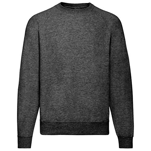 Fruit of the Loom Basic Raglan Sweatshirt, Größe:L, Farbe:dunkelgrau meliert