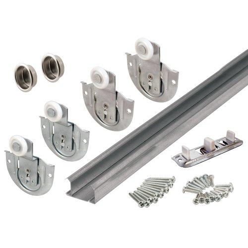 Slide-Co 163590 By-Pass Wardrobe Track Kit, 60 in. Opening, Dial-Adjusting Rollers, Steel, 7/8 in. Plastic Wheels