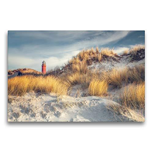 CALVENDO Premium Textil-Leinwand 75 x 50 cm Quer-Format Leuchtturm Darßer Ort, Leinwanddruck von diwiesign