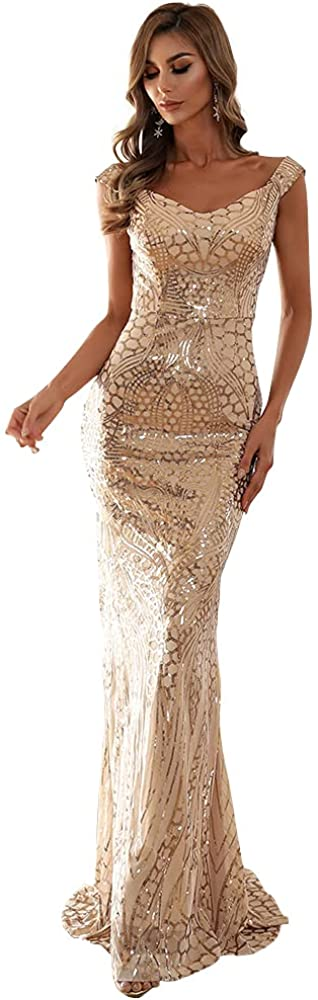 Lin Lin Q Women's Maxi Formal Off Shoulder Sequin Dress, Backless Sleeveless Slim fit Mermaid Evening Party Gowns