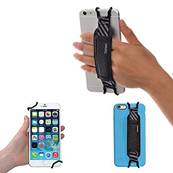 TFY Security Hand Strap Holder for iPhone X / 8/8 Plus - iPhone 6 / 6S  Plus  -iPhone 7/7 Plus - Samsung Galaxy S4 / S5 - Galaxy Note 2/3 / 4 - Nexus 5/6 - Huawei Mate 9  Black