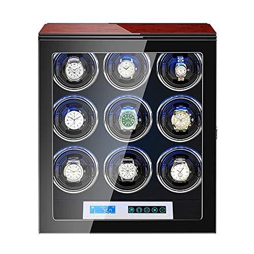 XIUWOUG Caja giratoria automática para relojes de 9 relojes, pantalla táctil, almohadilla flexible para reloj, acabado de piano, motor silencioso