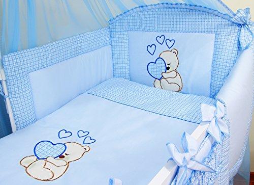 Literie de bébé ensemble set complet 3 pièces Housse de couette Taie d'oreiller Tour de lit 100% coton avec broderie motif brodées nounours/ourson pour fille garçon (120x60cm, Bleu)