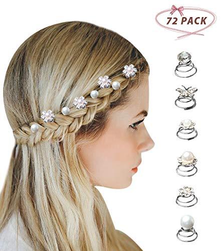 Surplex 72 pcs horquillas en espiral para el pelo con diamantes de...
