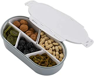 Galapara Fruits Nuts Plate with Lid Seal Detachable Multi Sectional Sub Grid Plastic Tray Candy Snack Dish Bowl Dessert Serving Platter Food Storage Serving Container for Daily Use