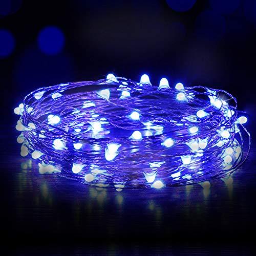 Luces Led USB, Ariceleo 1 Piezas 5 Metros 50 LED Mini LÁMpara Alambre de Cobre Guirnalda Cadena Luces de Navidad para Casa Dormitorio Navidad Habitacion Fiestas Boda DecoraciÓN(Azul)