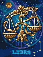 大人のための5Dダイヤモンド絵画キット12星座てんびん座フルドリル刺繡クロスステッチアートクラフトキャンバス供給家の壁の装飾刺繍ダイヤモンドモザイクアクセサリー40X50cm