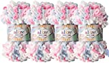 Alize Puffy Fine Color Baby Blanket Small Loop 100% Micropolyester Soft Yarn Lot of 4skn 400gr 64yds (5945)