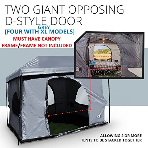 Standing Room Premium Family Cabin Tent 8.5 ' of Head Room 4 Big Screen Doors Fast Easy Set Up Full Waterproof Fabric Ceiling NOT Leaky MESH Screen Full TUB Style Floor Canopy Frame NOT Included