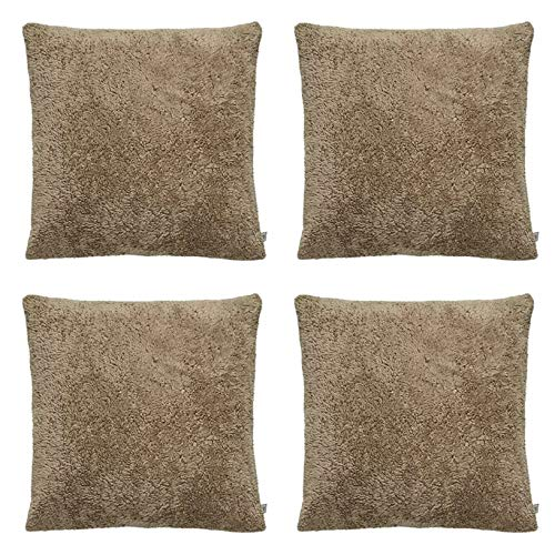 SET OF 4 - Large Teddy Bear Fleece Super Soft Fur Cushion Covers Throw Sofa Decorative 20x20' / 50X50cm (Brown)