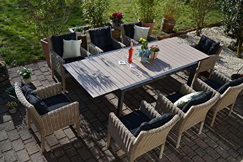 bomey Sitzgruppe Bergamo I Gartenmöbel-Set Rattan 9-Teilig I Essgarnitur aus Alu-Tisch & 8 Rattan-Sesseln I Lounge-Möbel Hellbraun + Polster anthrazit I Garten Lounge für Terrasse + Wintergarten