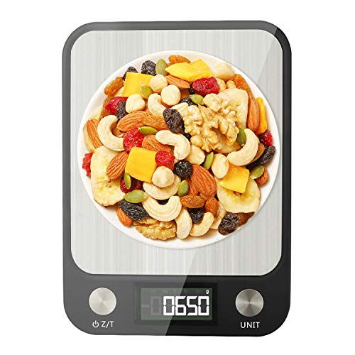 Food Scale Digital Multifunction Kitchen Scale with 1g01oz Precise Increment for Baking and Cooking 10kg22lbs 7 Units LCD Display Waterproof Brushed 304 Stainless Steel Technics Surface