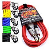 Premium Guitar/Instrument Cable (Red, 10ft / 3m, Straight Plugs) - Heavy Duty Pro