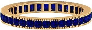 Anillo de boda de zafiro azul de corte redondo de 1,80 mm, anillo de eternidad completo, banda milgrain dorada (calidad AA...