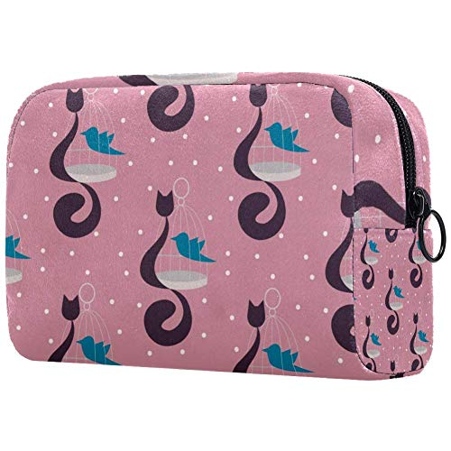 Bolsa de aseo para gatos con jaula y pájaros azules para maquillaje,...