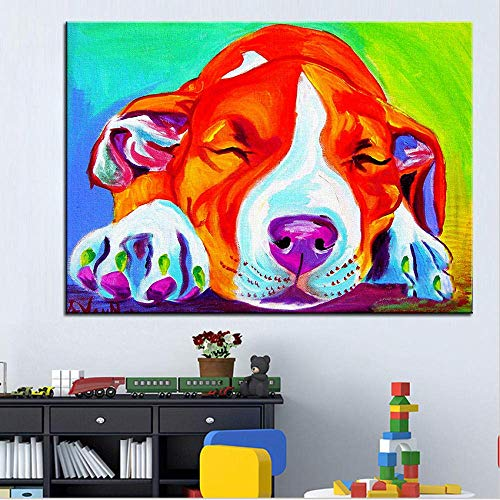 zhangsh Digitale Malerei für Kinder für Erwachsene DIY Ölgemälde-Kit lourful Hundespielzeug Geeignet für Erwachsene Kinder Geburtstagsgeschenke Anfänger-with Frame-40x50cm