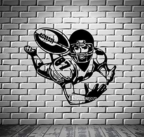 jiushivr Football Wide Receiver Wall Stickers Quarterback Bowl Wall Mural Vinyl Art Decal Artistic Design Wall Tattoo S 81x130cm