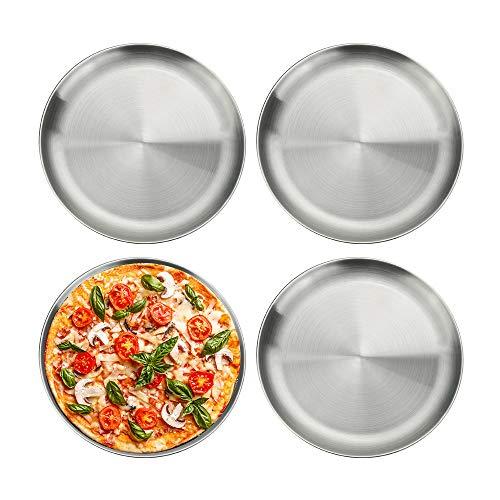 YUSHIWA 4 PCS Bandejas de Horno para Pizza de 201 Acero Inoxidable Moldes para Pizza Antiadherente Molde de Horno Redondo para Fruta, Ensalada, Tapas, Postre, Fiesta (Plata, 26 cm de Diámetro)