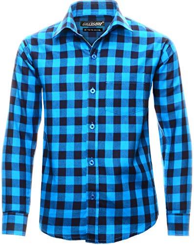 GILLSONZ GA22 vDa Kinder Party Freizeit Hemd Lange Arm 100% Baumwolle (134/140(EU 9-10y), Türkis(7))