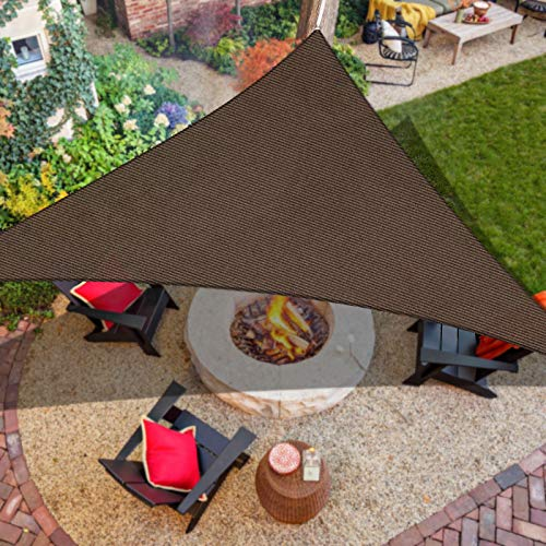 "iCOVER Sun Shade Sail 13' x 13' x 18'6"" Triangle Canopy, 185GSM Fabric Permeable Pergolas Top Cover, for Outdoor Patio Lawn Garden Backyard Awning, Brown"