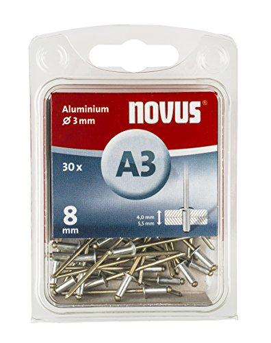 Novus Aluminium Blindnieten 8 mm, 30 Nieten, Ø 3 mm, 4.0-5.5 mm Klemmlänge, für Nichteisen Metall, Kunststoff, Stoffe