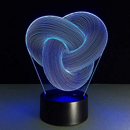 3D Slideshow3D nachtlampje visuele knopen drie ringen creatieve abstracte geometrische LED lichttafel slaapkamer koffielamp verjaardag vakantie geschenken