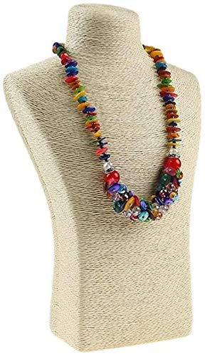 Maniquí Ajustable Exhibición de la joyería 29 * 18 cm de cáñamo Cuerda Collar de PVC Soporte de exhibición de Jewellry de la joyería del Busto del maniquí Cuello (Color : Beige)