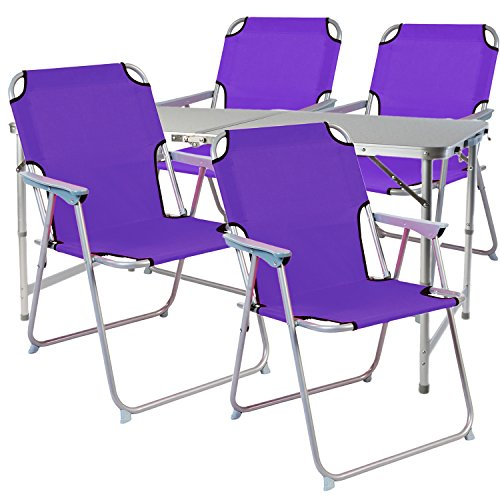 Mojawo 5-teiliges Campingmöbel Set Alu 120x60x58/70cm 1x XXL Campingtisch mit Tragegriff + 4 Campingstühle schwarz Lila Oxfort