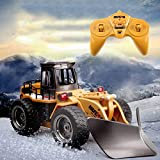 YAMMY 6 Canales 1/18 RC camión Control Remoto quitanieves 2,4G aleación barredora de Nieve vehículo 4WD Tractor de Juguete con Luces para niños (Coche RC)