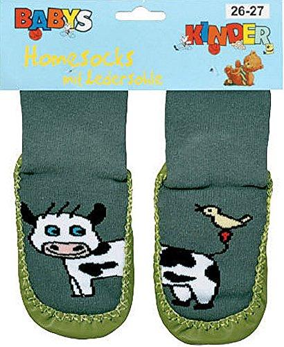 "socksPur Hüttenschuh-Söckchen ""lustige Tiere"" mit Ledersohle Anti-Rutschsohle aus echtem Leder. 1 PAAR / 1 Farbe. (28-29, khaki)"