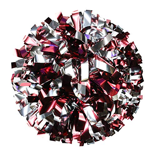 Danzcue 6 Inches Metallic Cheerleading Pom Pom with Baton Handle Pack of 2 (One Size, Maroon-Silver)